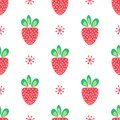 Strawberry vector seamless pattern of red berries with green leaves in simple decorative style on white background