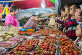 Strawberry vendor pahang malaysia june night market sells a in the town of brinchang cameron highlands on june in pahang malaysia Royalty Free Stock Photo