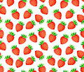 Strawberry on white background seamless vector pattern Royalty Free Stock Photo