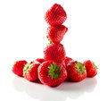 Strawberry on white reflexive background ripe isolated Stock Photography