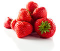Strawberry on white reflexive background ripe isolated Stock Photos