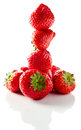 Strawberry on white reflexive background ripe isolated Royalty Free Stock Images