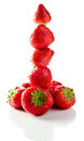Strawberry on white reflexive background ripe isolated Royalty Free Stock Photography