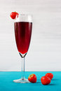 Strawberry wine or juice with berries Stock Photos