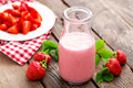 Strawberry yogurt with fresh berries, delicious drink, cocktail Royalty Free Stock Photo