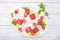 Strawberry yogurt ice cream popsicles with mint . Royalty Free Stock Photo
