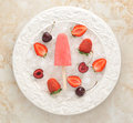 Strawberry yogurt ice cream popsicles with strawberry and cherry Royalty Free Stock Photo