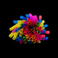 Straws bundel of isolated on black Royalty Free Stock Images