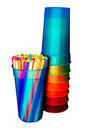 Straws and cups isolated colorful on white background with clipping path Stock Photo