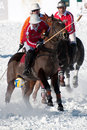 STRBSKE PLESO, SLOVAKIA - FEBRUARY 6: Polo on snow Stock Photos
