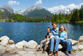 Strbske Pleso (Slovakia) spring view and family Royalty Free Stock Images