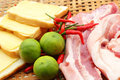 Streaky pork in the basket for cooking Royalty Free Stock Photos