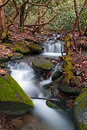 A stream cascades over rocks in the smoky mountains of tennessee usa Stock Photos
