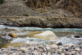 Stream in diskit nubra valley a during the way to leh Royalty Free Stock Image