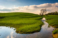 Stream in a farm field in rural york county pennsylvania Royalty Free Stock Images