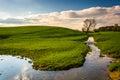Stream In A Farm Field In Rura...