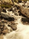 Stream flowing in motion over rocks. Royalty Free Stock Photo