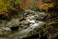 A stream in Guangwu moutain in autumn Royalty Free Stock Photo