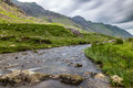 Stream in llanberis pass in snowdonia from llanberis over pen y pass between glyderau and the snowdon massif Stock Photo