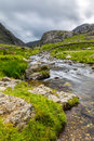 Stream in llanberis pass in snowdonia from llanberis over pen y pass between glyderau and the snowdon massif Royalty Free Stock Photography