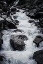 Stream of mountain river. Black-white Royalty Free Stock Photo