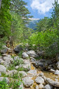 Stream in the picturesque mountains Royalty Free Stock Photography