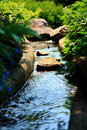 Stream by rocks and plants Royalty Free Stock Photos