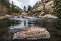 Stream running through Eleven Mile Canyon Colorado Royalty Free Stock Photo