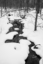 Stream running through snow in Black & White Royalty Free Stock Photo