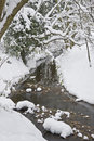Stream running through Winter forest Stock Photo