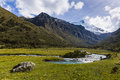 A stream and snow caped mountains in Huascaran National Park Royalty Free Stock Photo