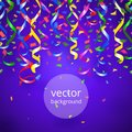 Streamers and confetti background vector party on blue Royalty Free Stock Images