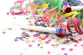 Streamers confetti and blowers Royalty Free Stock Photo