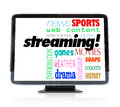 Streaming content on hdtv television watch programs a high definition with the word and words for types of you can such as movies Royalty Free Stock Photos