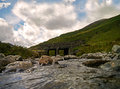 Streams run under a bridge kirkstone pass cumbria shot of stream near the slate mines the lake district Royalty Free Stock Photo