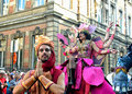 Street actors play scene unidentified in defile during belgian national day activities on july in brussels Stock Image
