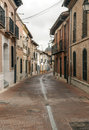Street of alaejos with dome in the background houses located on sides spanish city spain is a cloudy day it is a picture Royalty Free Stock Photos