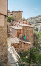 Street of albarracin located in the spanish province teruel you can see the medieval houses and the mountain in the background Stock Photography