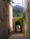 Street in anacapri on the island of capri with vista to mountain monte solaro Stock Photography