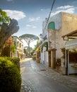 Street of Anacapri town on Capri island in Italy Royalty Free Stock Photo