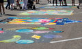Street art colorful chalk decorates the in st joseph michigan Stock Photo