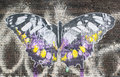 Street art in london artwork representing a big butterfly on a brick wall shoreditch uk september Stock Photography