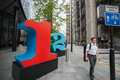 Street art london england july large numerals in lime in the finance district of london on july striking brightly coloured Stock Photography