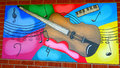 Street art New Zealand style: mural of a guitar Royalty Free Stock Photo