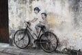 Street Art at Penang, Kids on Bicycle Royalty Free Stock Photo