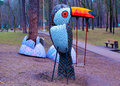 Street art a swing in shape of a toucan bird in kiev ukraine Stock Photo