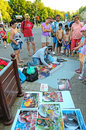 Street artist in hajduszoboszlo hungary july draws aerosol paints Royalty Free Stock Photos
