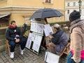 Street artist in prague Royalty Free Stock Photo