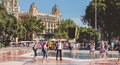 Street atmosphere on the famous Plaza Catalunya in Barcelona Royalty Free Stock Photo