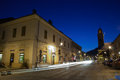 Street in baia mare romania view by night Royalty Free Stock Image